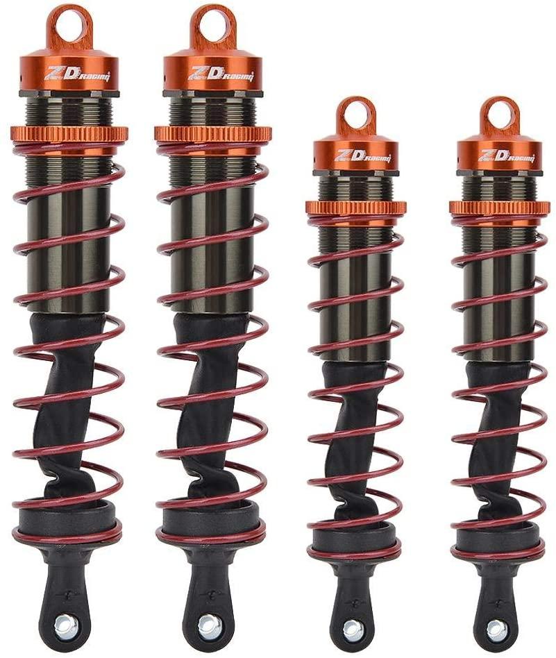 Woyisisi 1/8 RC Car Metal Oil Pressure Adjustable 2pcs Front Shock Damper + 2pcs Rear Shock Damper (Orange)