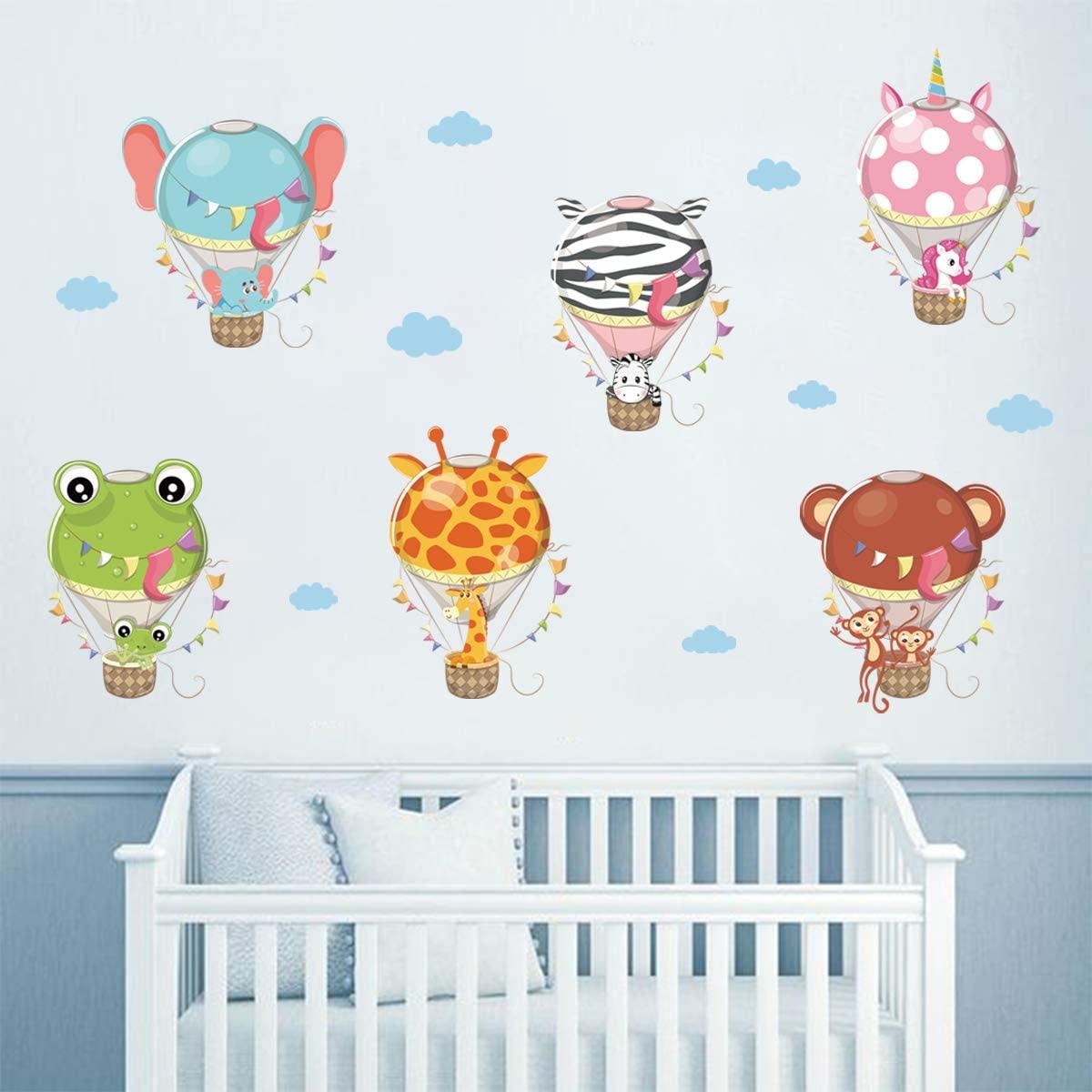 ufengke Animal Hot Air Balloon Wall Stickers Unicorn Giraffe Elephant Wall Decals Art Decor for Kids Bedroom Nursery Living Room