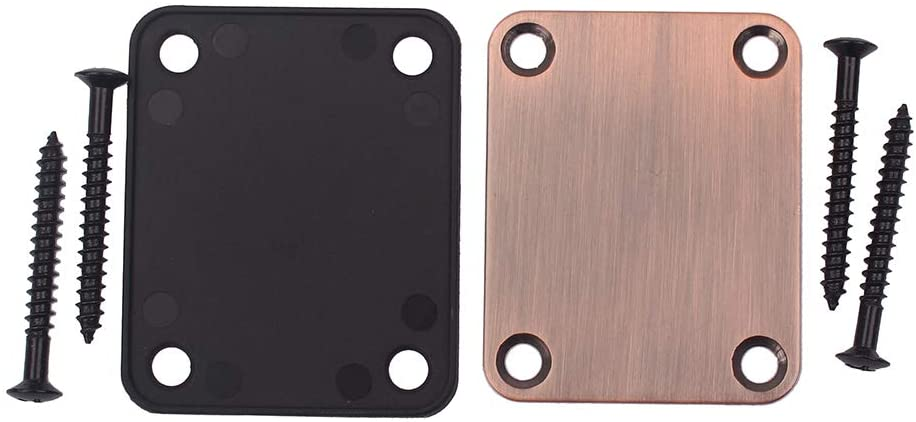DishyKooker Carved Electric Guitar Neck Plate 4 Screws for ST/SQ/TL Style Electric Guitar
