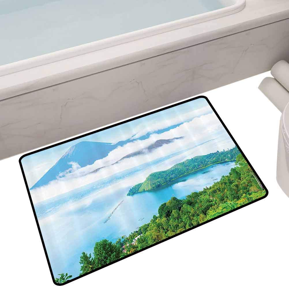 Living Room Anti-Slip Mat Big Lake Overlook with Volcano Above Fluffy Clouds Up North Landscape,24