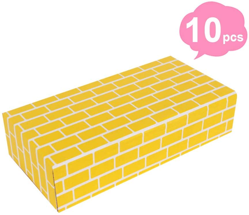 HAPPYMATY Cardboard Building Blocks Extra Thick 10 pcs Building Blocks Jumbo Bricks to Construction Wall and Deluxe Castle for Toddlers Boys Girls, Yellow