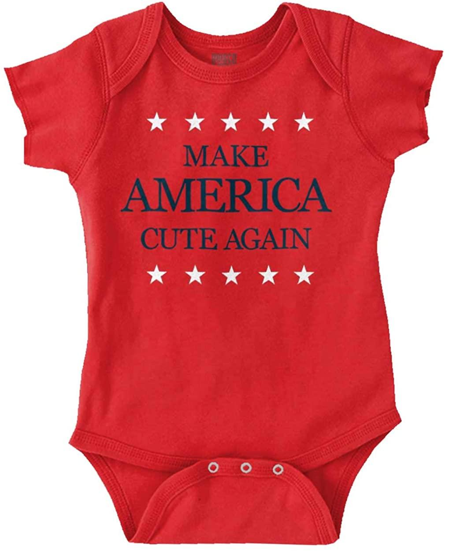 Brisco Brands Make America Cute Again Funny MAGA USA Gift Baby Romper Bodysuits
