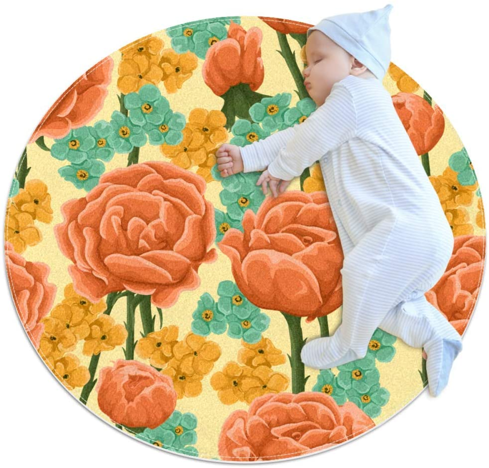 Flowers Colorful Baby Area Rug Home Decorative Carpet Soft and Washable Pad Non-Slip for Kid's Toddler Infants Room 3feet 3.4inch