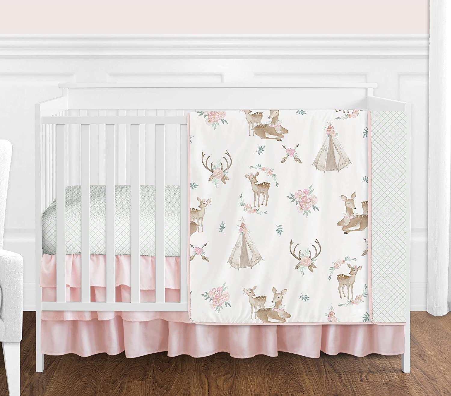 Sweet Jojo Designs Blush Pink, Mint Green and White Boho Watercolor Woodland Deer Floral Baby Girl Crib Bedding Set - 4 Pieces