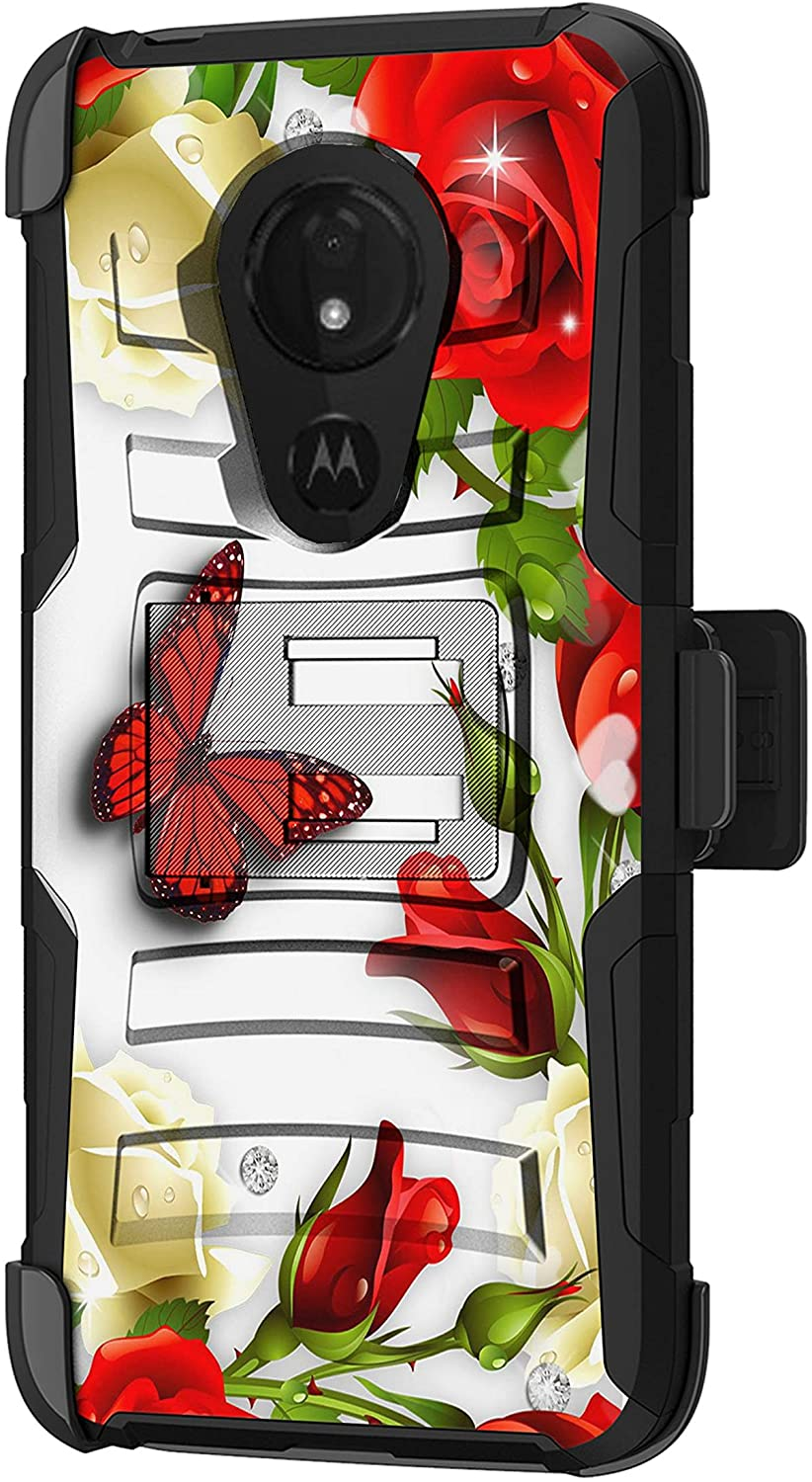 TurtleArmor | Compatible with Motorola Moto G7 Power Case | Moto G7 Supra Case [Hyper Shock] Fitted Armor Holster Belt Clip Hybrid Cover Stand Shock Protective Case - Butterfly Roses