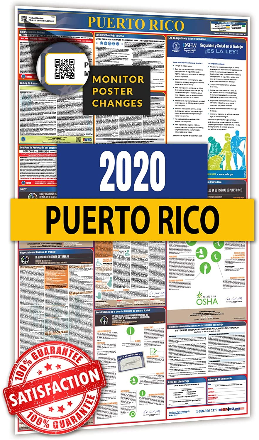 2020 Puerto Rico All in One Labor Law Posters for Workplace Compliance