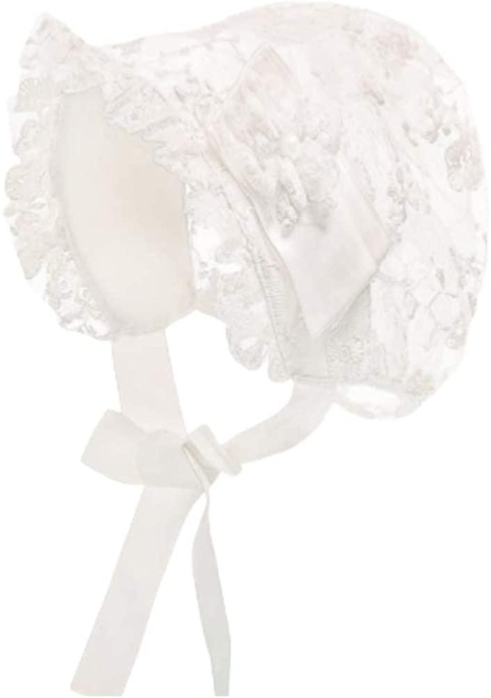 FENICAL Baby Girls Bonnet Lace Hat Caps Christening Bonnet Infant Princess Sun Hat Flower Bonnet Photo Props from 0-2 Years