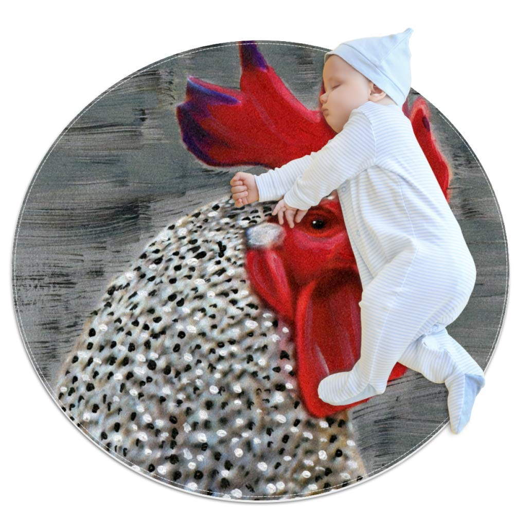 Baby Rug Rooster Painting Round Tent Rug Super Soft Nursery Rug Anti-Slip for Infants Toddlers 31.5x31.5in