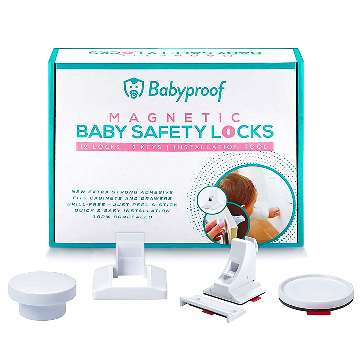 Child Safety Locks For Your Drawer, Cabinet or Kitchen - Baby Locks For Cabinets Drill Free - Magnetic Cabinet Locks With Extra Strong Adhesive - Easy And Fast Installation - 12 Pack