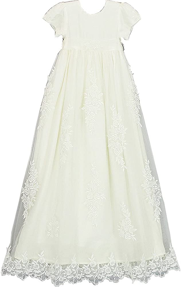 Michealboy Baby Girl Lovely First Communion Dress & Bonnet Long Gown Prom