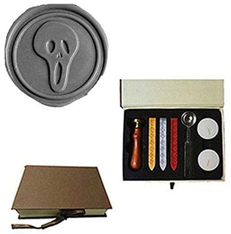 MDLG Vintage Skull Ghost Custom Picture Logo Wedding Invitation Wax Seal Sealing Stamp Sticks Spoon Gift Box Set Kit