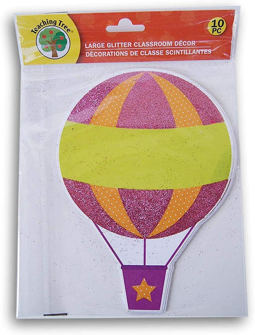 Hot Air Balloon Classroom Decor Glitter Paper Cut-Outs - 10 Count