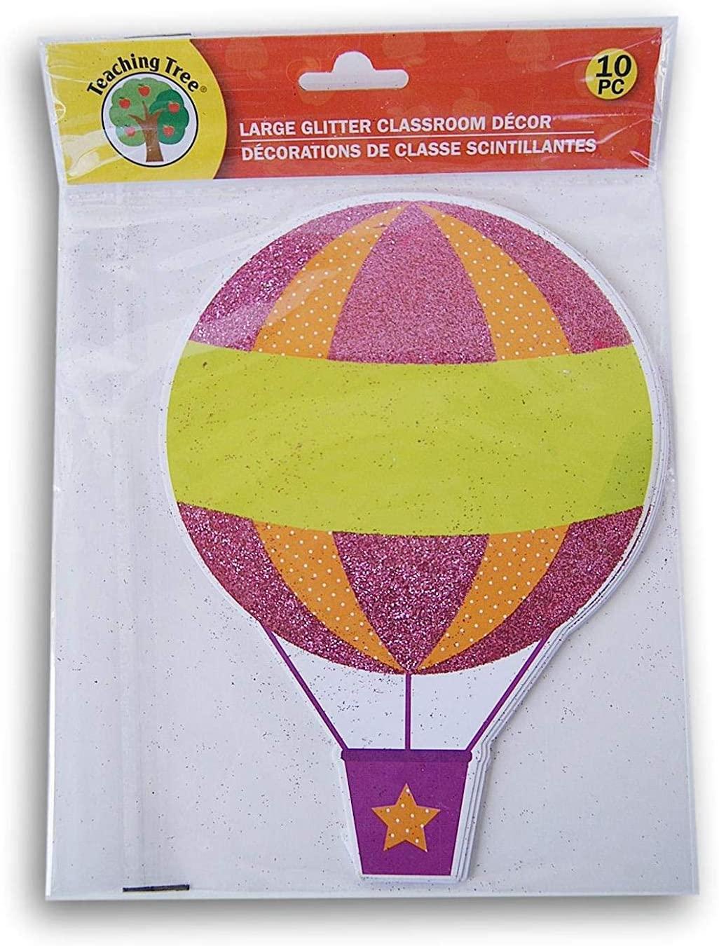Hot Air Balloon Classroom Decor Glitter Paper Cut-Outs - 10 Count