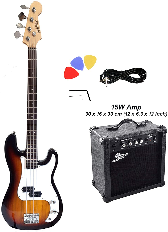 Bass Guitar for Beginners 15W amp package Standard size Sunburst PB87315