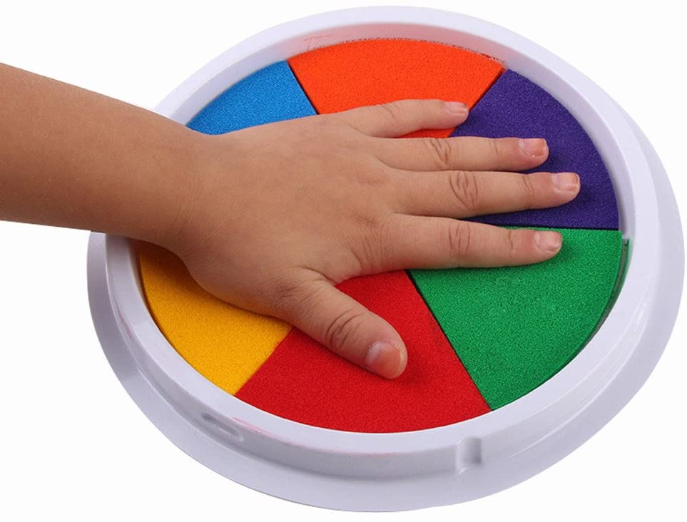 Thinktoo 6 Colors DIY Ink Pad Stamp Finger Painting Craft Cardmaking Large Round For Kids, learning toys montessori toys toddler activities
