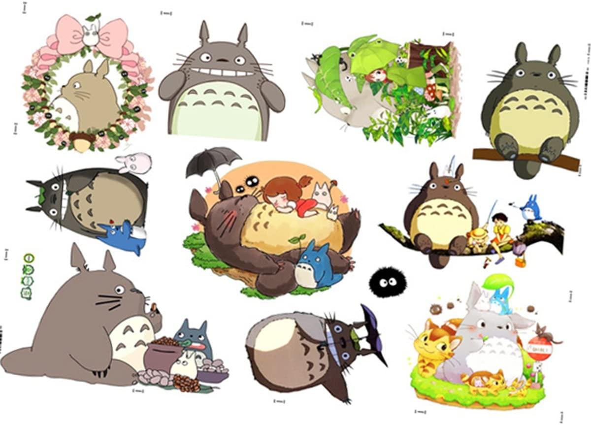 Janeyer [Newest Version] Home Decorative 3D Effect Miyazaki Hayao's Totoro Mural Removable Wall Sticker Cartoon Kids Nursery Wall Art Decal Wallpaper Black Totoro