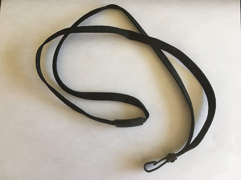 Black Flat Braid Breakaway Lanyard w/Wide Plastic Hook 2137-4744