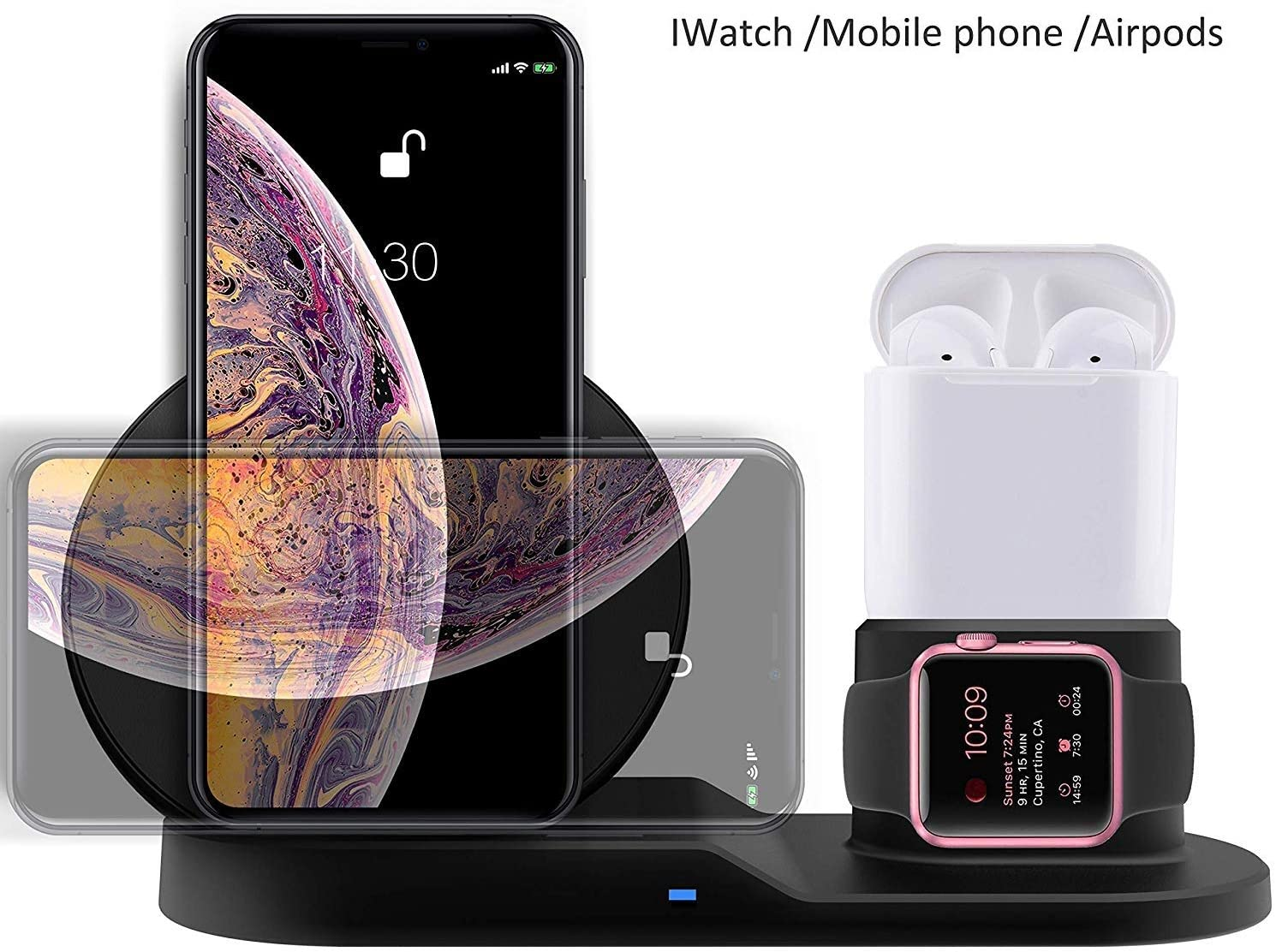 TECH ONE RESOURCES Wireless Charger 3 in 1 Station 10W, Fast QI Charger, Compatible for Apple Watch, iPhone, Samsung and All Qi Protocol Devices and Smart Phones