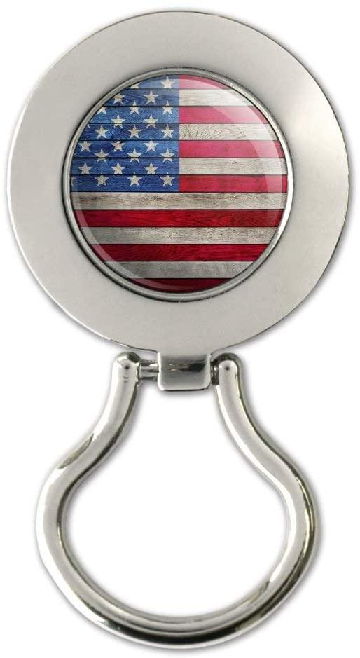 Rustic American Flag Wood Grain Design Magnetic Metal Eyeglass ID Badge Holder