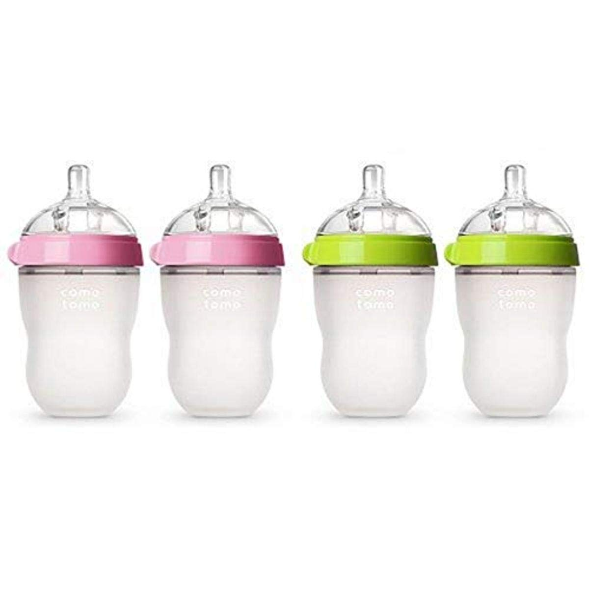 Comotomo Baby Bottle, Pink, 8 Ounce, 2 Count and Baby Bottle, Green, 8 Ounce, 2 Count