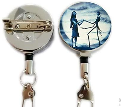 Jack Skellington Necklace Pendant Gift, Jack and Sally Nightmare,Retractable Badge Holder Carabiner Reel Clip On ID Card Holders