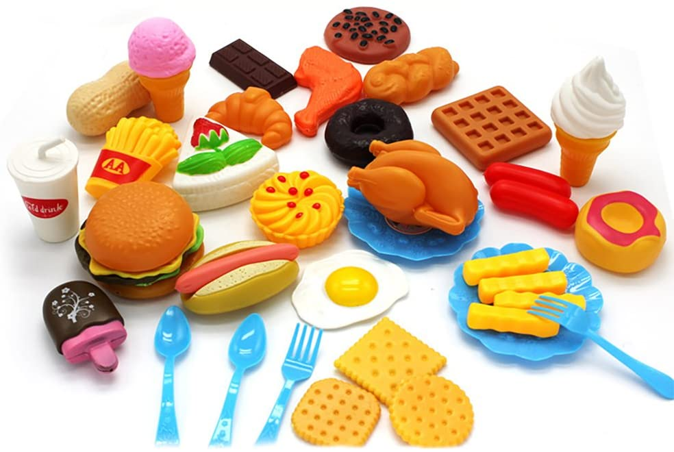 AKDSteel Plastic Fast Food Playset Mini Hamburg French Fries Hot Dog Ice Cream Cola Food Toy for Children Pretend Play Gift for Kids 34 Without a Basket Gift Toy Christmas