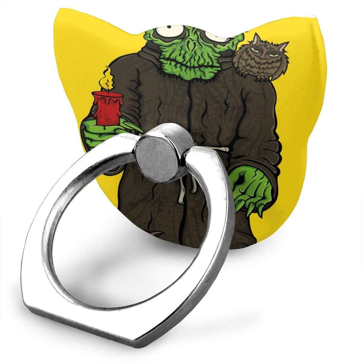 Universal Phone Ring Holder Halloween Horror Monk In Robe Monster Skull Cat Shape Cell Phone Ring Stand Adjustable Finger Kickstand Grip-Silver Mobile Phone Stand For Women Kids Men Ladies Smartphones