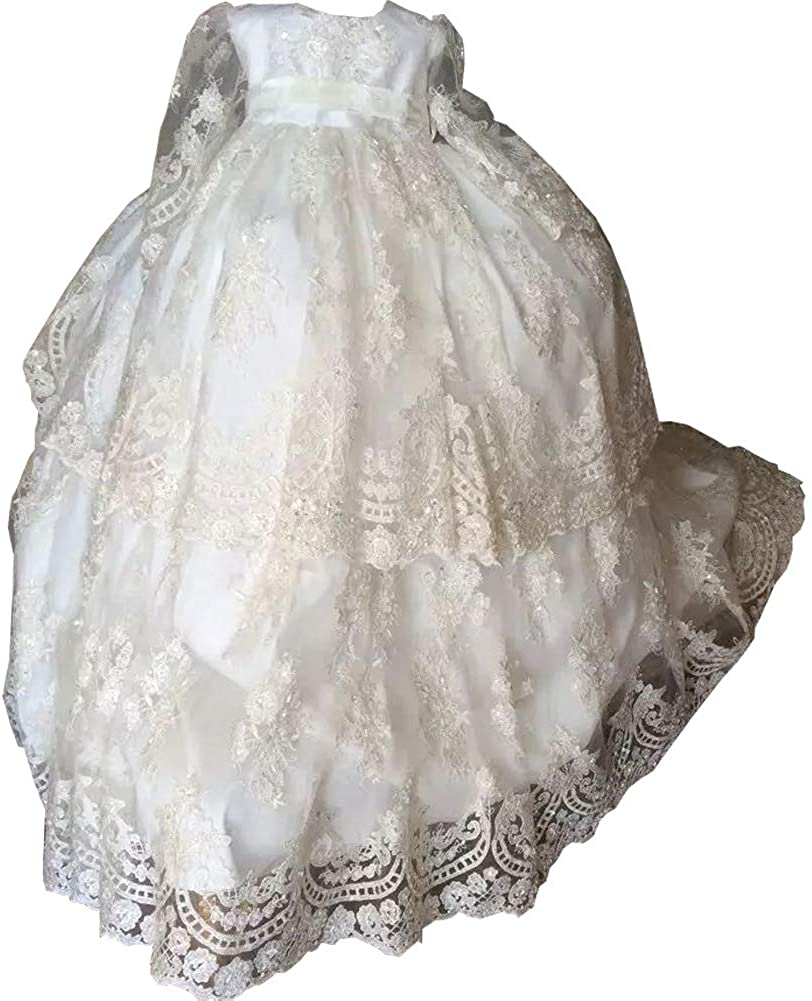 Michealboy Baptism Gowns Lace Long Sleeve Sequins Flower Formal Communication Dress