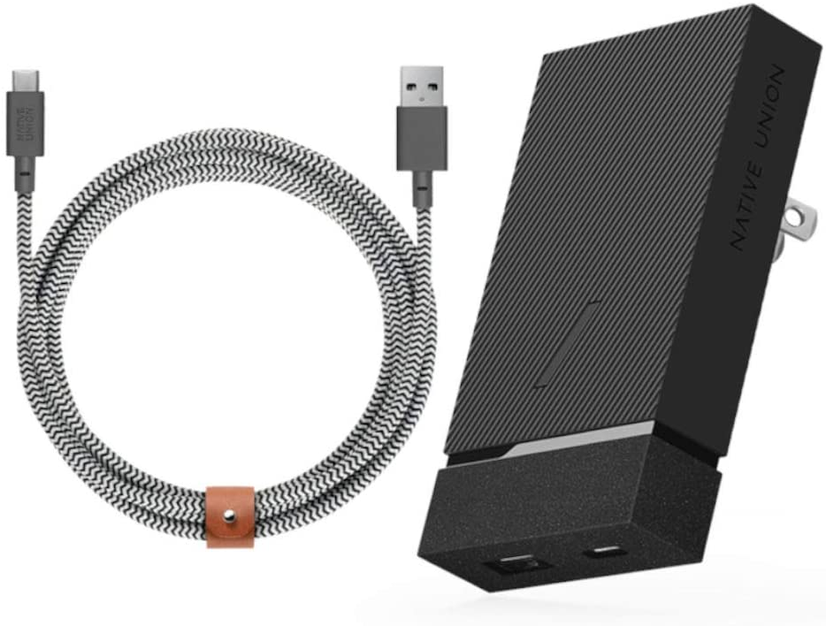 Native Union Bundle with Smart Charger PD 18W Fast-Charging 2-Port USB-A & USB-C Wall Charger + Belt Cable - 10ft Ultra-Strong Reinforced USB-C Charging Cable, Zebra
