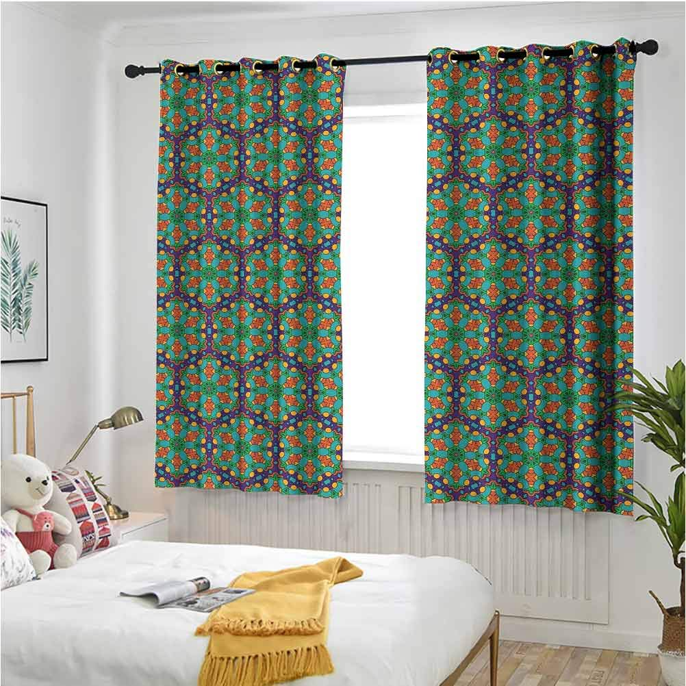 Turquoise Grommet Curtains for Girls Room Spider Web Inspired Floral Detailed Image on Blue Backdrop 55 x 40 inch Room Darkening Printed Patterns Curtains
