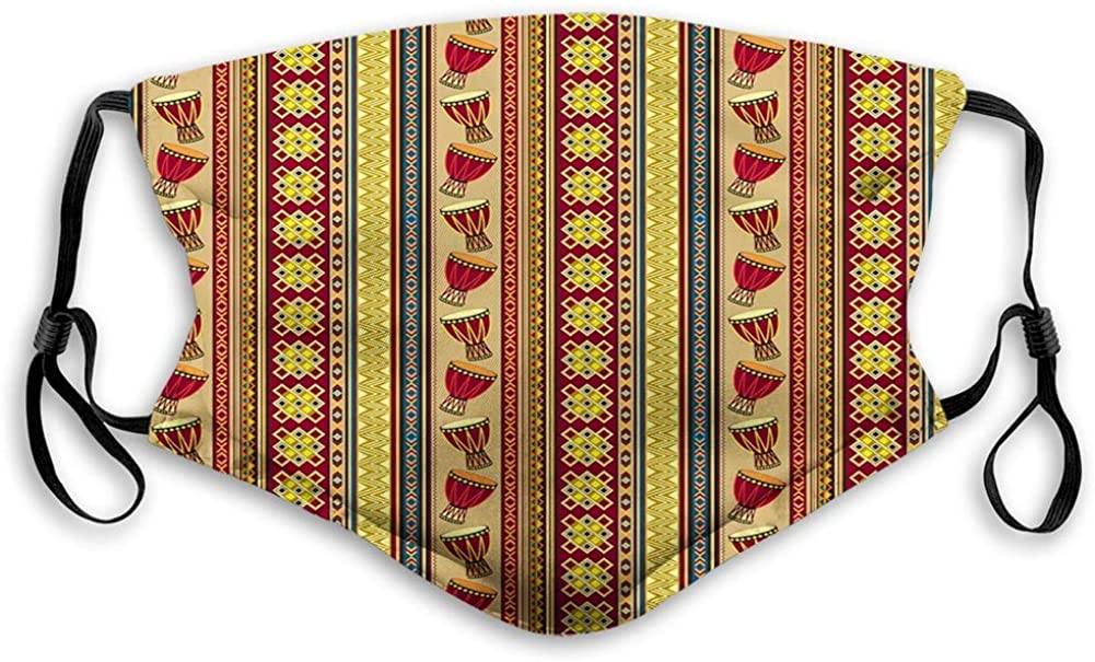 BOKUTT Decorative mouth cover,Oriental Djembe Drums Music Culture in Africa Theme Geometric Chevrons Triangles