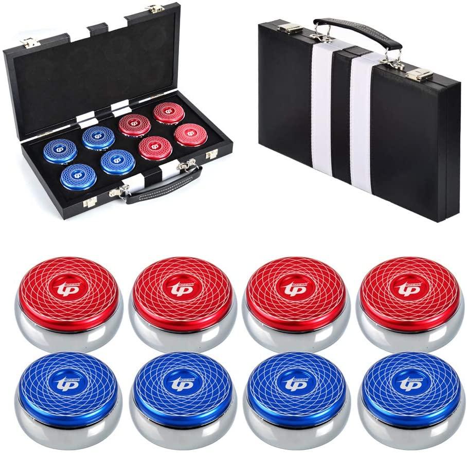 TORPSPORTS Set of 8 Aluminum Caps Shuffleboard Pucks 2-1/8