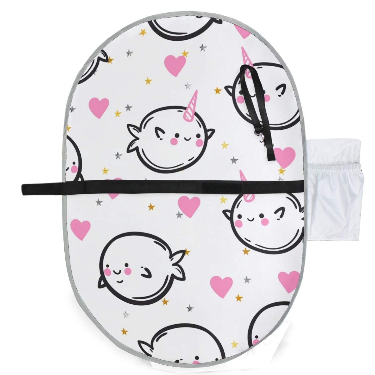 Waterproof Washable Baby Diaper Changing Pad Mat Funny Whales Hearts Portable and Foldable Infant Large Nappy Mat 27x20 inch