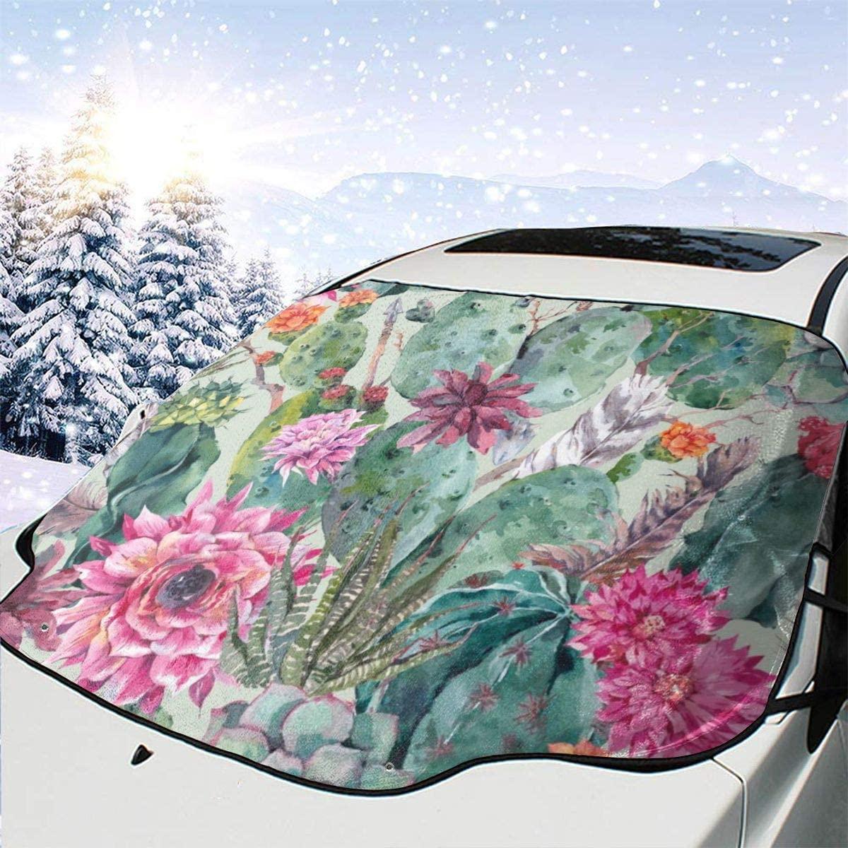 THONFIRE Car Front Window Windshield Ice Sun Shade Boho Cactus Flower Cover Waterproof Blocks Heat Damage Free Visor Protector Automotive Autumn Heat Reflector