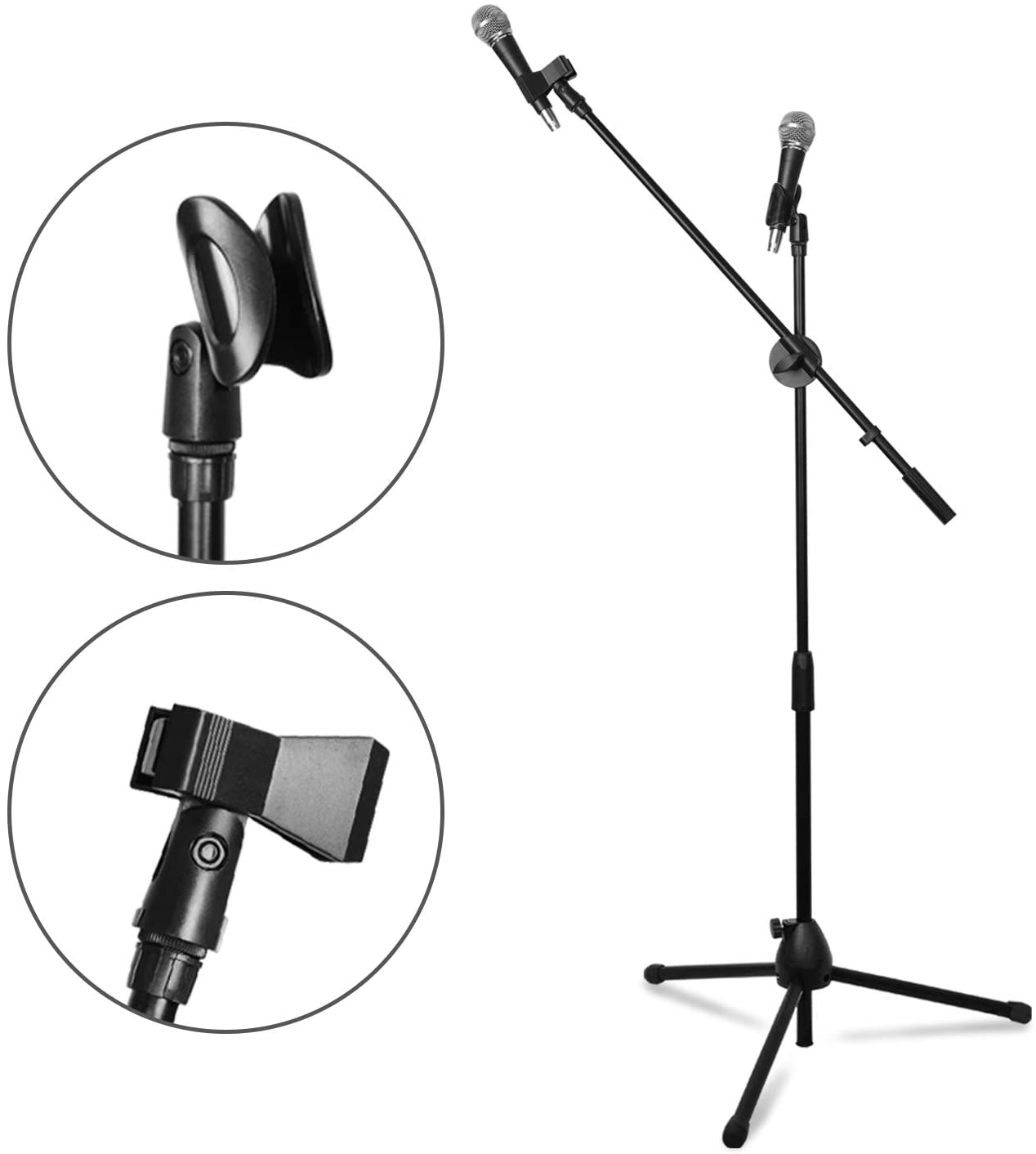 LIMO MUSIC Adjustable and Collapsible Microphone Stand Black, Max 52