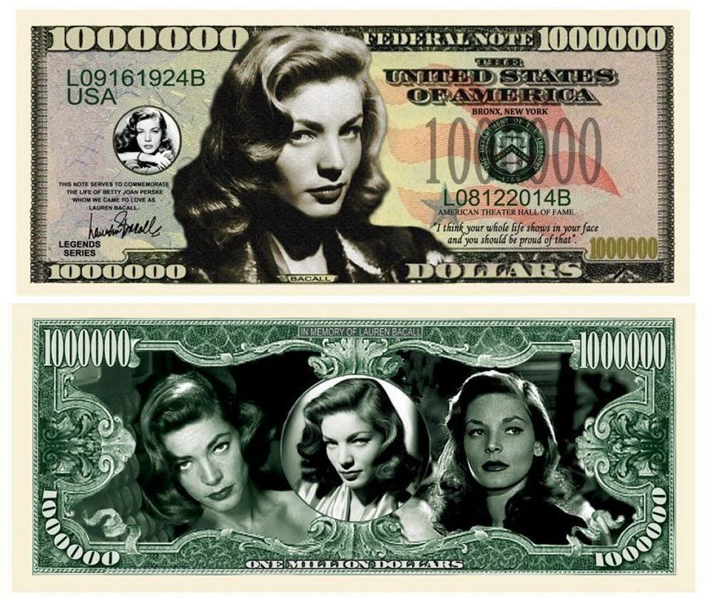 """Lauren Bacall Million Dollar Bill with Bonus """"Thanks a Million"""" Gift Card Set and Clear Protector"""