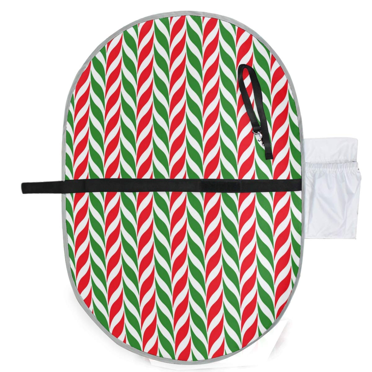 Waterproof Washable Baby Diaper Changing Pad Mat Red Green Candy Cane Portable and Foldable Infant Large Nappy Mat 27x20 inch