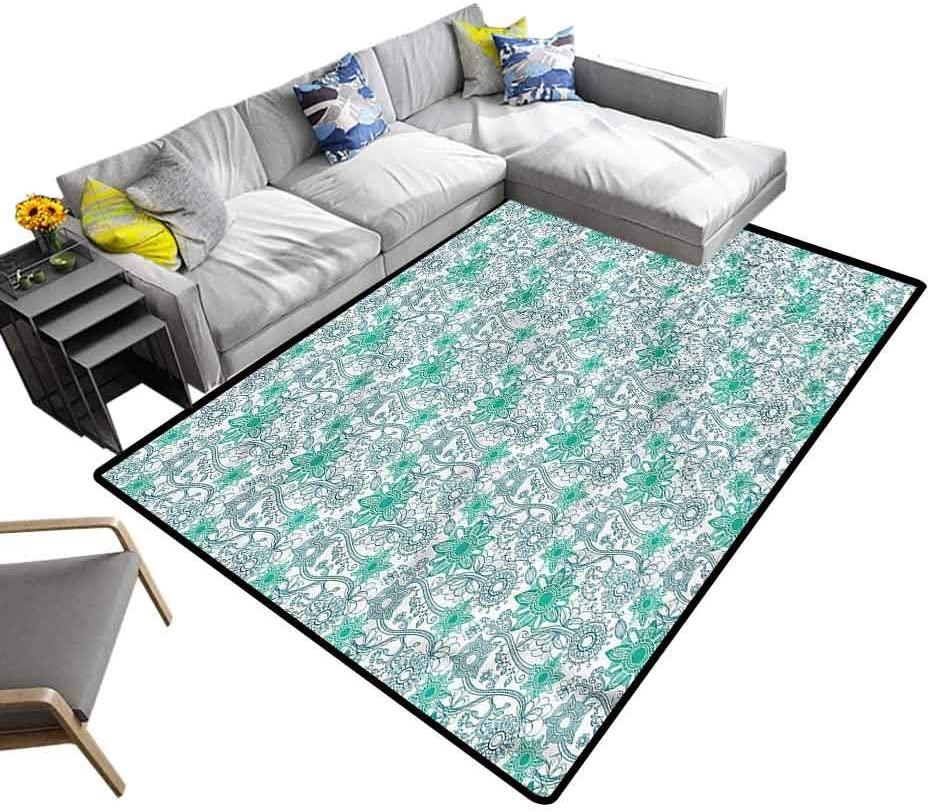 Turquoise, Floor Mat Doodle Flower Sketch Baby Floor Playmats Crawling Mat for Kids Living Room Nursery Home Decor, 7'x 7'