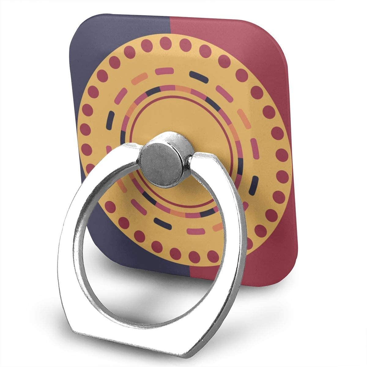 SLHFPX Cell Phone Ring Holder Stand Colorful Electronic Round Design Adjustable 360°Rotation Square Universal Finger Grip Loop Silver Metal Phone Holder for Women Kids Men Ladies