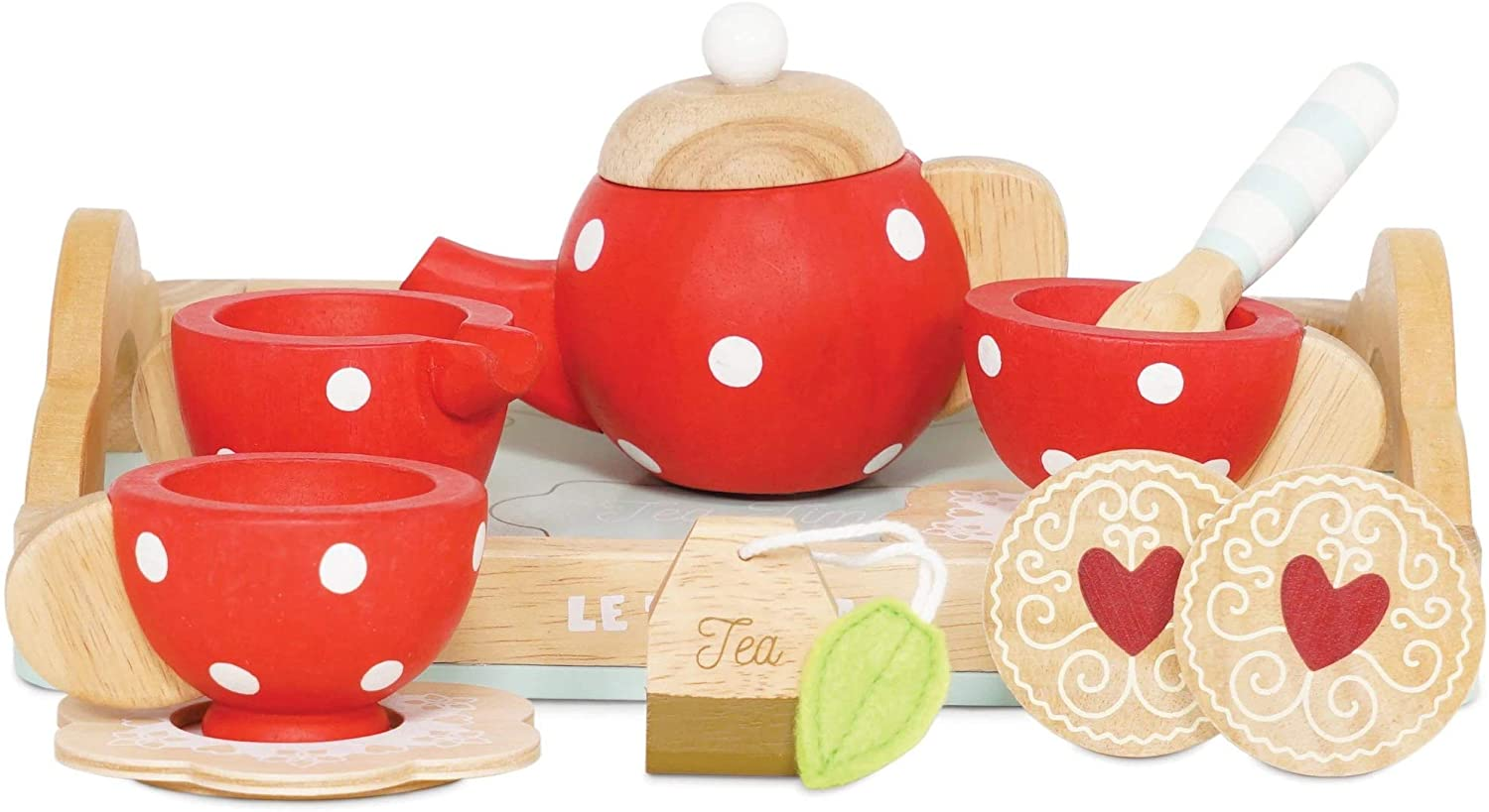 Le Toy Van Honeybake Collection Tea Set - Strawberry Design Premium Wooden Toys for Kids Ages 3 years & Up (TV276)