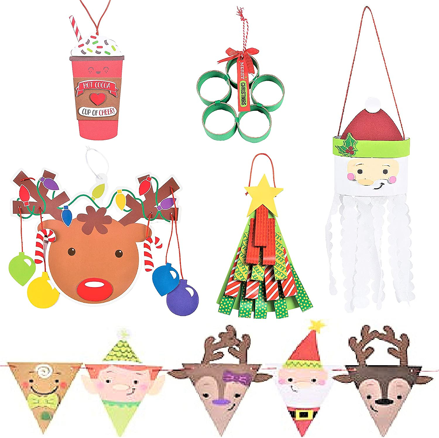 Christmas Holidays Hanging Sign Craft Kits Set - Six (6) Kits - Hot Cocoa Sign, Pennant Banner, Reindeer Mobile, Loop Christmas Tree & More! - 5 - 45 - Winter Kids Crafts Family Activities - Bundle