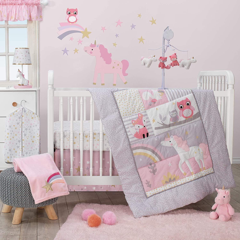 Bedtime Originals Rainbow Unicorn 3Piece Crib Bedding Set, Purple
