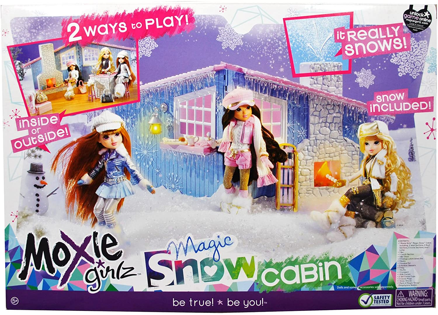 Moxie Girlz Doll Series Accessory Set - Magic Snow Cabin with Bat Table, Bar Stool, Couch, Firelogs with Simulated Fire, Radio, Fondue Pot, 2 Fondue Skewers, Tray, Muffin, Croissant, Milk Carton, 2 Tall Cocoa Cups, 2 Cocoa Mugs, Snow Shovel amd 1 Pack of Magic