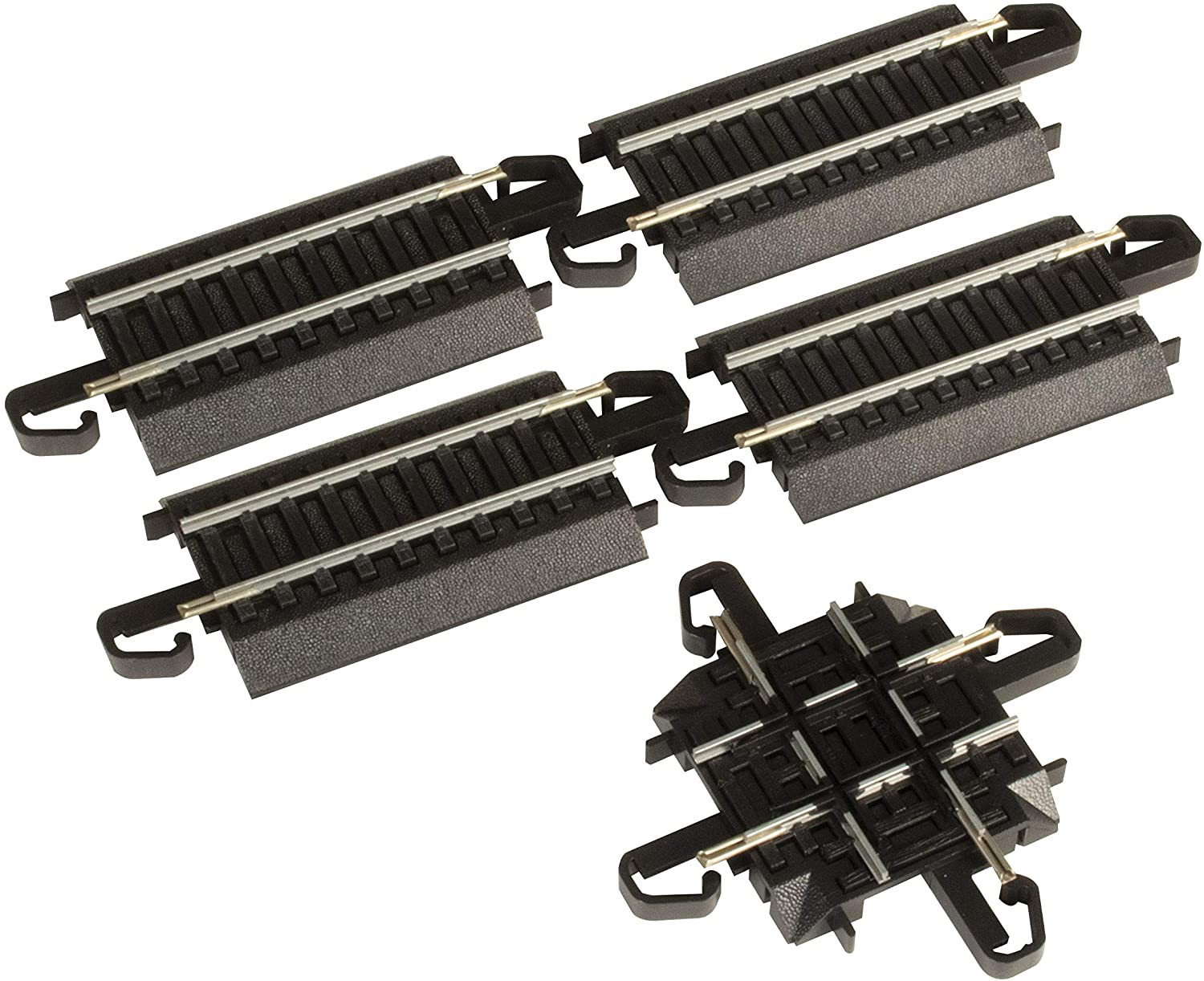 Bachmann Trains - Snap-Fit E-Z TRACK 90 DEGREE CROSSING (1/card) - STEEL ALLOY Rail With Black Roadbed - HO Scale