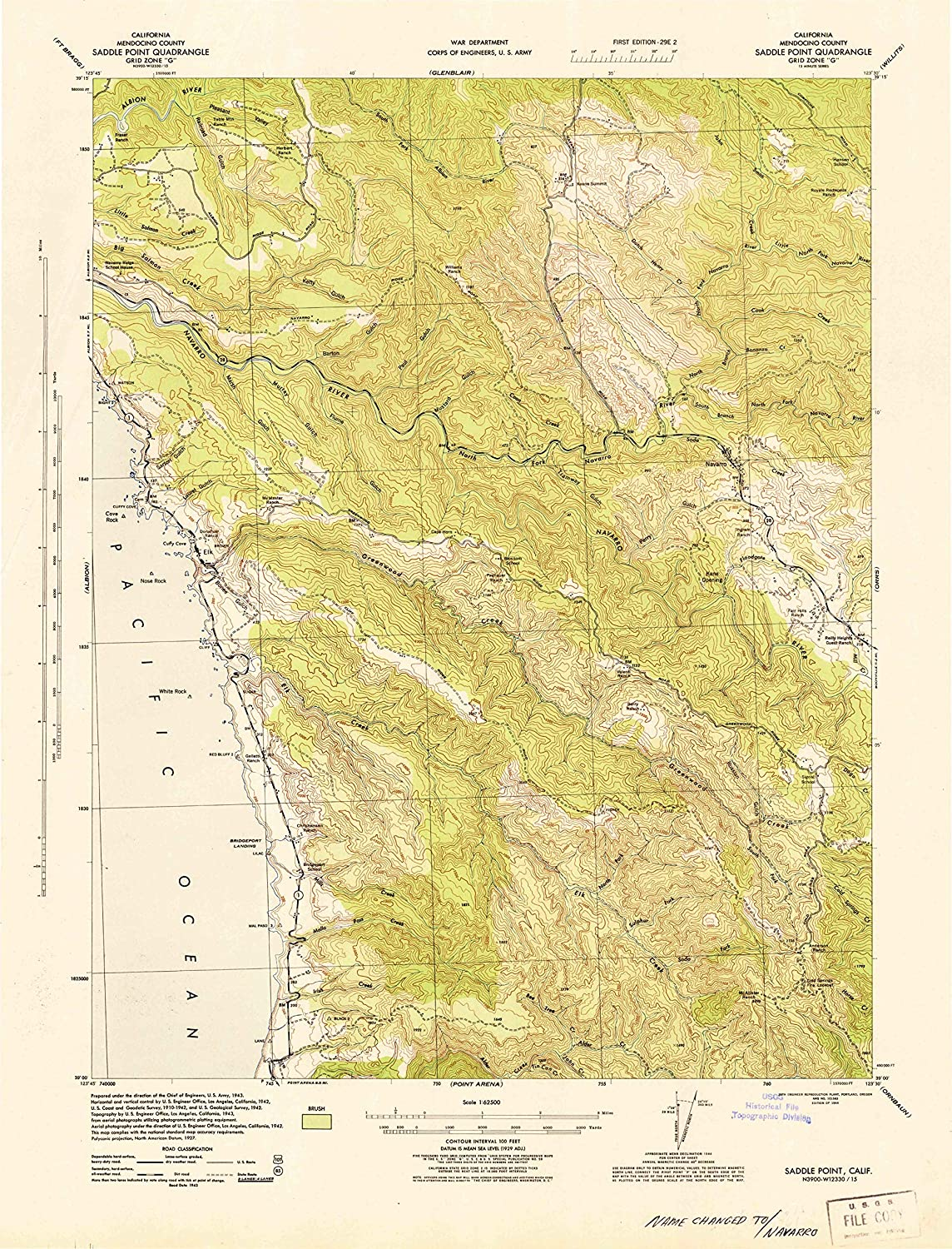 Map Print - Saddle Point, California (1944), 1:62500 Scale - 24