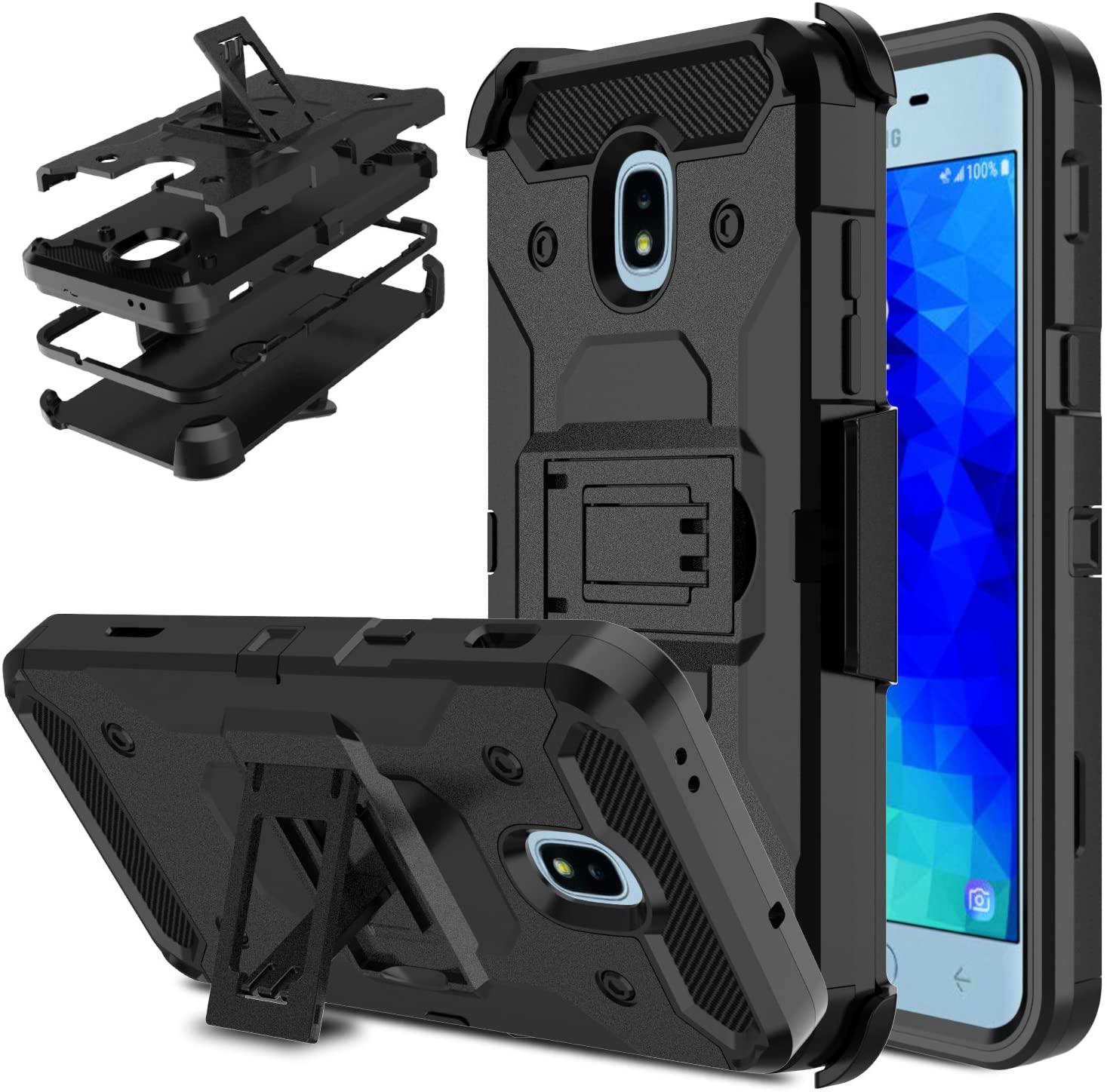 DONWELL Galaxy J3 2018 Case J3 V 3rd Gen Phone Case Shockproof Heavy Duty Protective Cover with Kickstand Belt Clip Holster Compatible for Samsung Galaxy J3 Star / J3 Orbit / J337A J337V (Black)