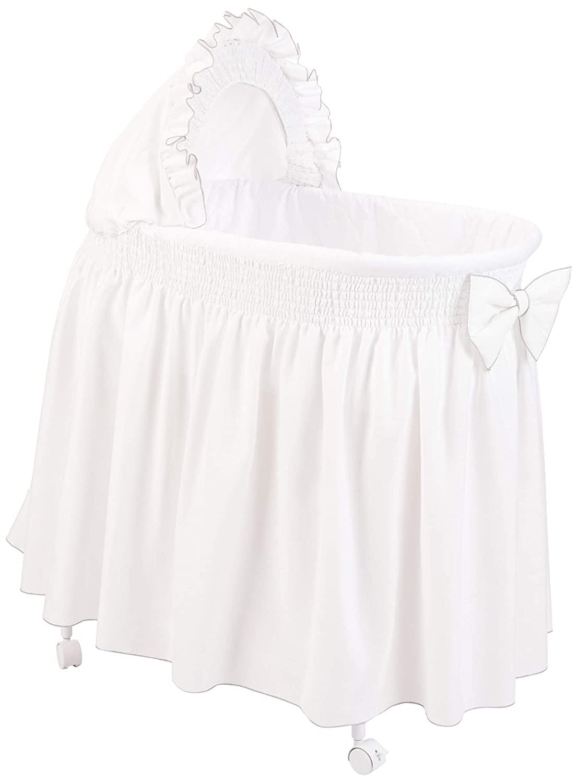 Baby Doll Bedding Drake Linen Look Bassinet Skirt/Hood Cover, Grey
