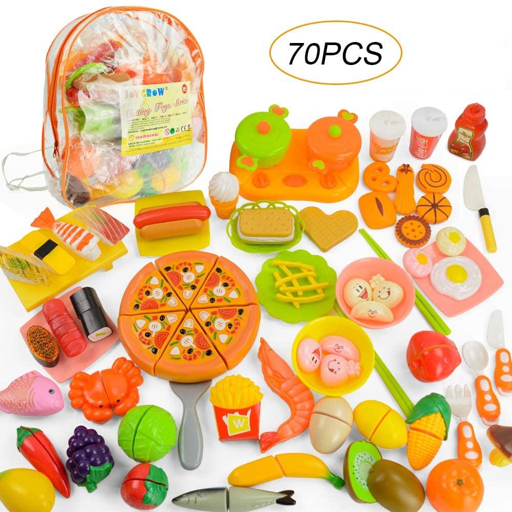 JoyGrow 70 PCS Pretend Play Cutting Toys Fruits Vegetable Fast Food Sushi Slicing Play Food Educational Toys Food Set with Backpack Storage (Orange)