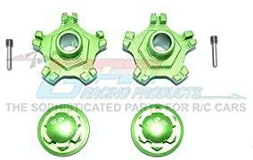 Arrma Infraction 6S BLX Upgrade Parts Aluminum Wheel Hex (+6mm) + Wheel Lock - 4Pc Set Green