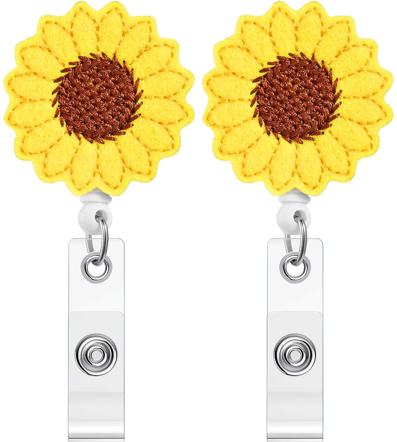 2 Packs Sunflower Badge Reel Holder 24 inch Retractable Cord ID Badge Reel with Alligator Clip for Women Gift